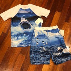 🦈 Boys Gap Shark Swim Shorts Trunks Shirt UPF 40+